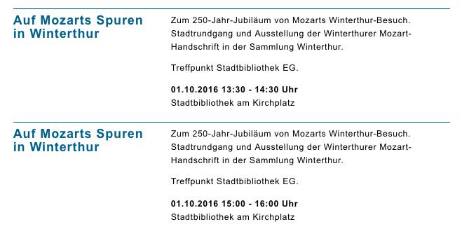 Veranstaltungen der Stadtbibliothek Winterthur