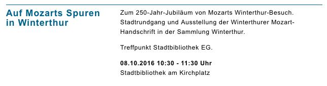 Veranstaltungen Stadtbibliothek Winterthur 8. Okt. 2016