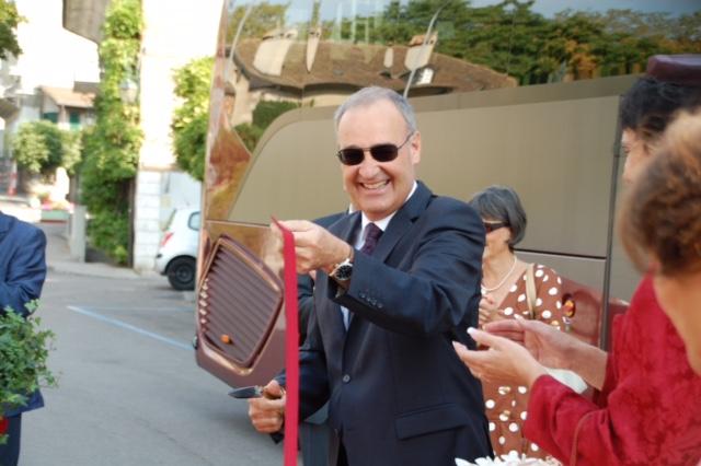 Foto Bundesrat Guy Parmelin und Gattin beehren uns mit ihrer Teilnahme am Fest. Hier Bundesrat Parmelin anlässlich der Einweihung des «Mozartbusses»